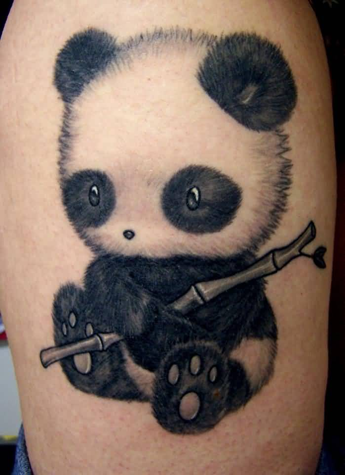 Panda With Bamboo Stick Tattoo On Arm