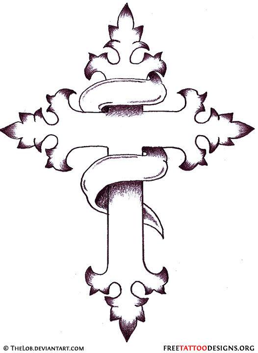 plain banner and cross tattoo design