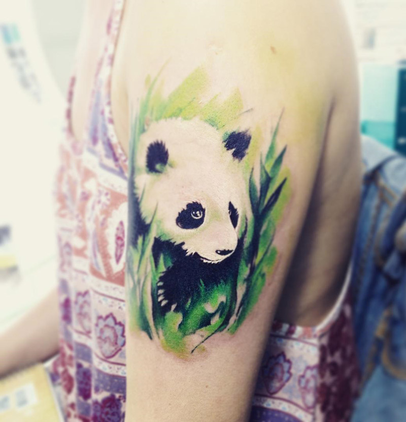 Pretty Panda Tattoo On Bicep