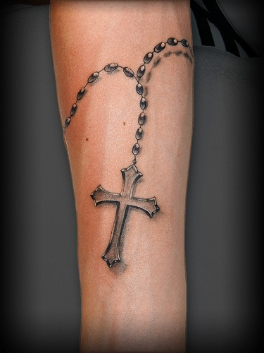 Cross tattoo images designs for Rosary tattoo on arm