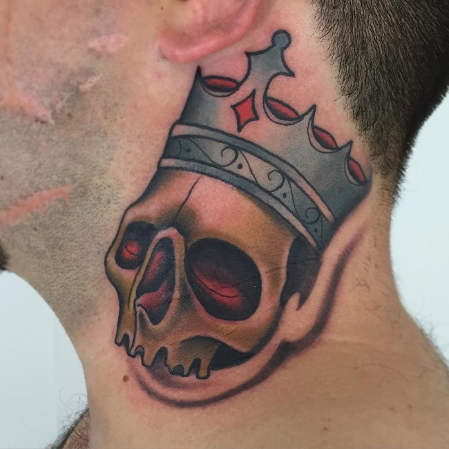 be47179eaf621 Skull And Crown Tattoo On Man Side Neck