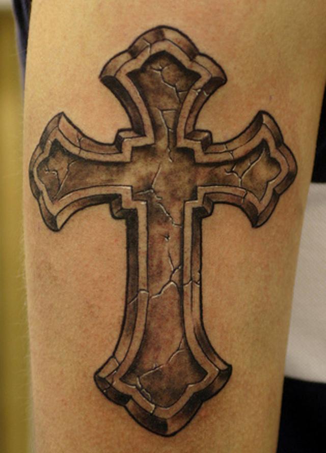 Stone Cross Tattoo On Leg