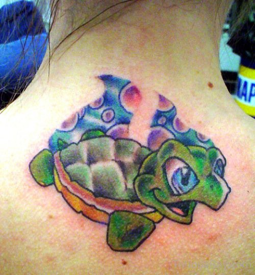 Upper Back Green Turtle Tattoo For Girls