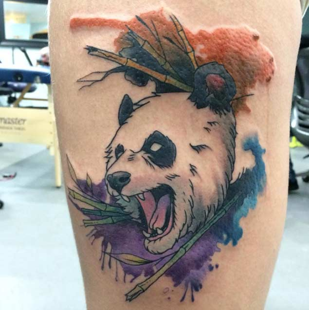 Watercolor Angry Panda Head Tattoo