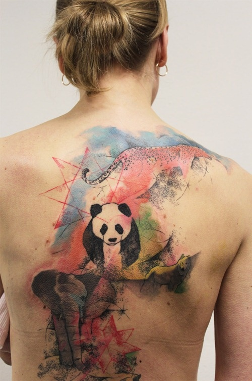 Watercolor Wild Animals And Panda Tattoo On Girl Full Back