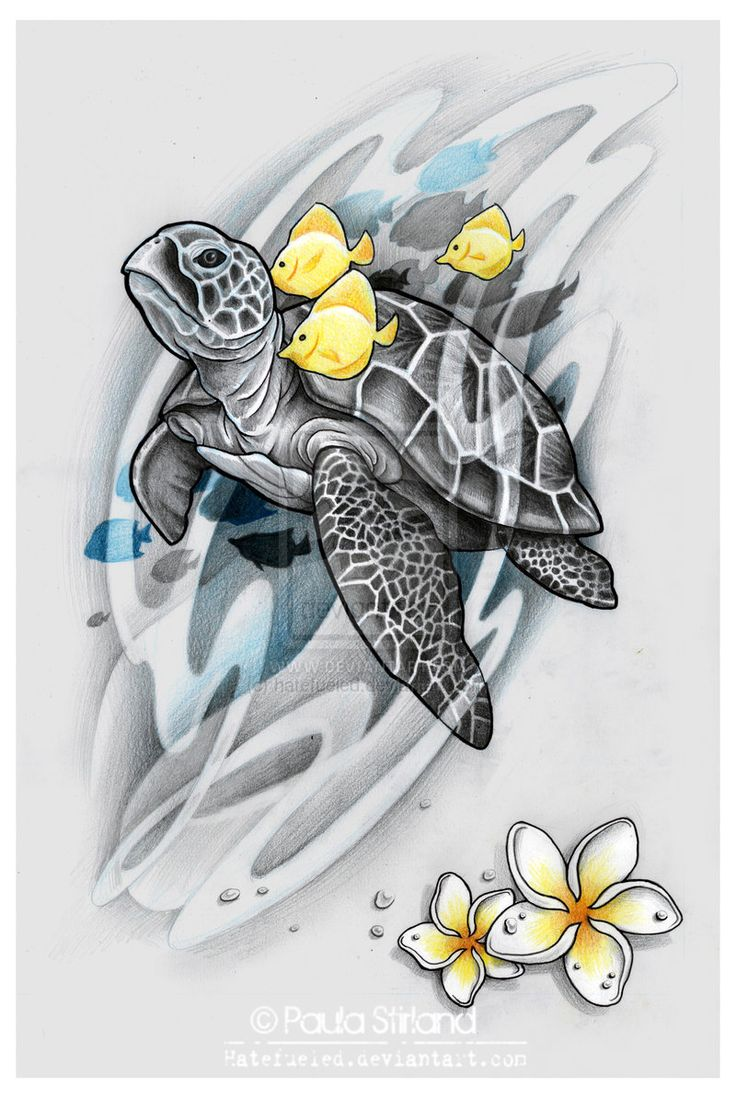 Yellow Fishes And Grey Turtle Tattoo by Hatefueled