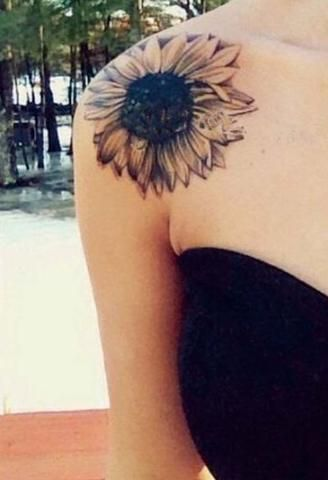 Right Shoulder Black And Grey Sunflower Tattoo