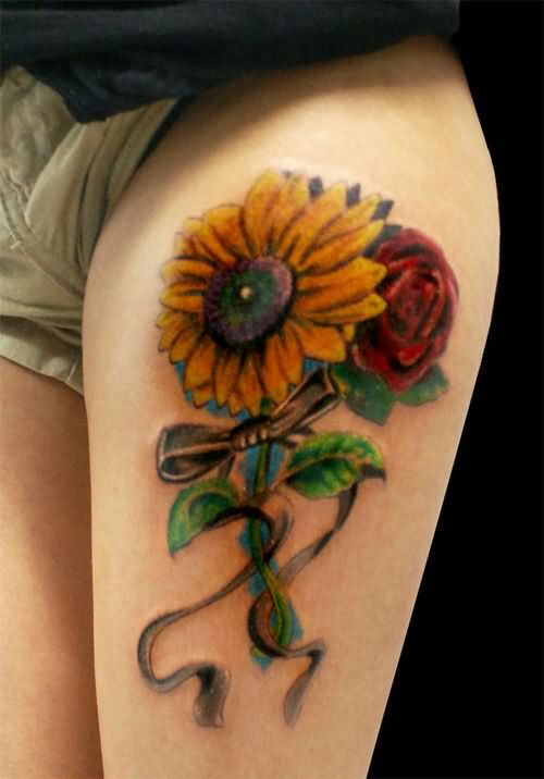 Rose And Sunflower Tattoo On Left Thigh