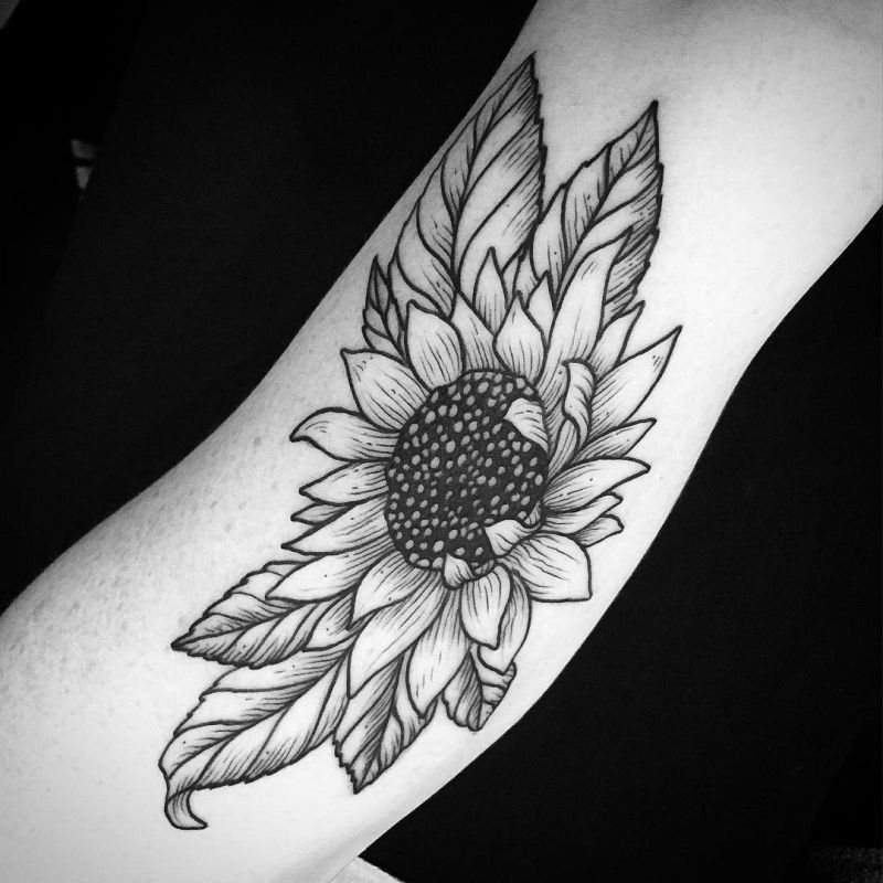 Bicep Sunflower Tattoo On Arm