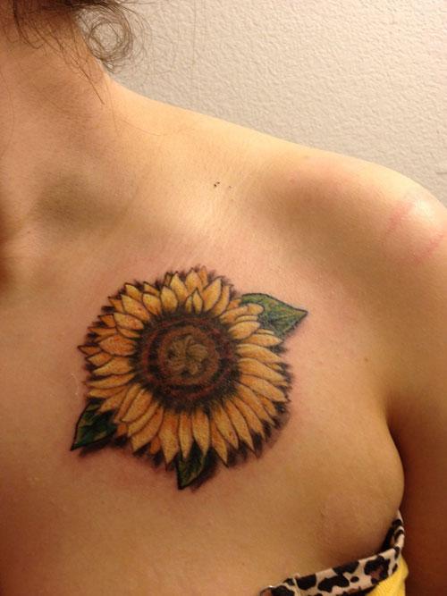722c306b1 Sunflower Tattoo On Girl Collarbone