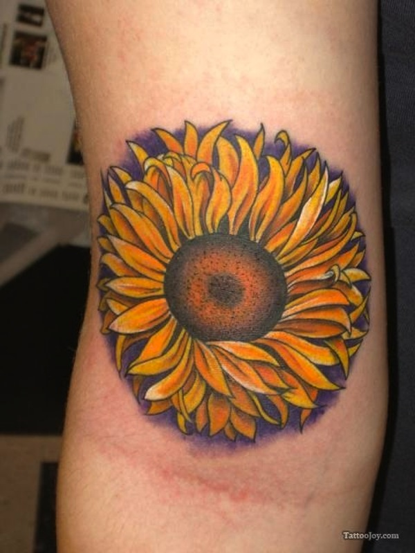 Sunflower Tattoo On Right Forearm