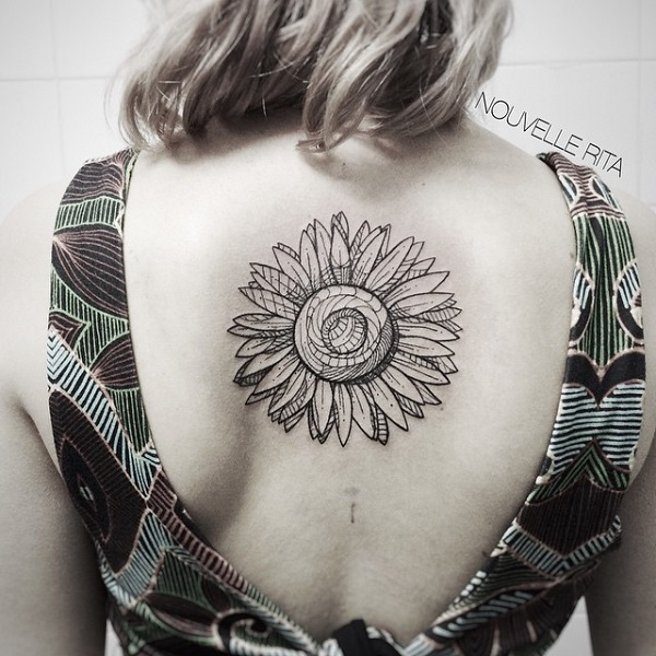 Sunflower Tattoo On Upper Back