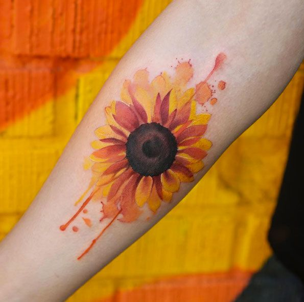 Watercolor Sunflower Tattoo On Forearm