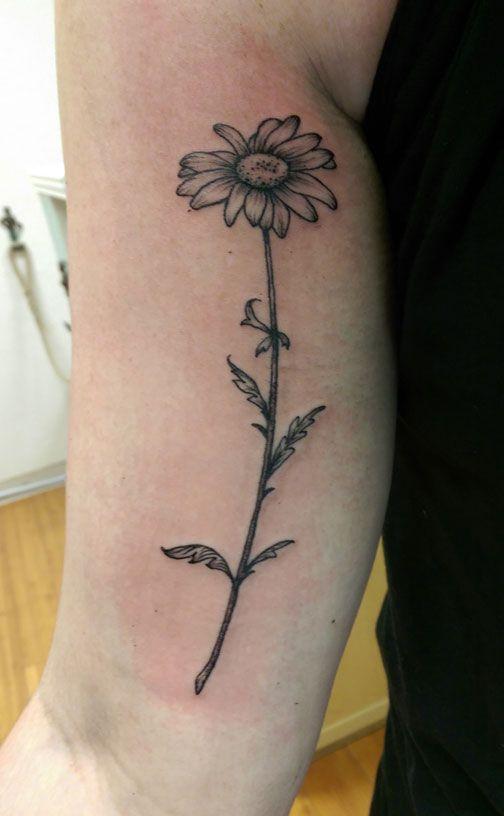 Purple Daisy Tattoo: Grey Ink Daisy Tattoos On Arm Sleeve