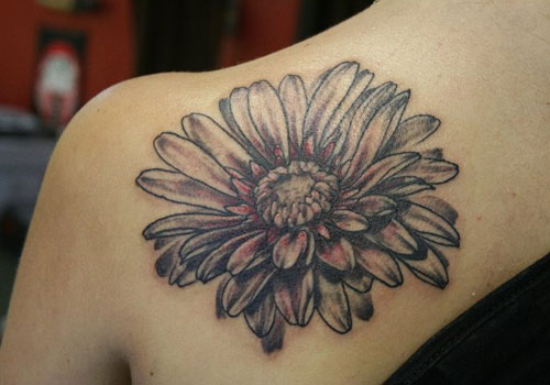 Back Shoulder Daisy Tattoo For Girls