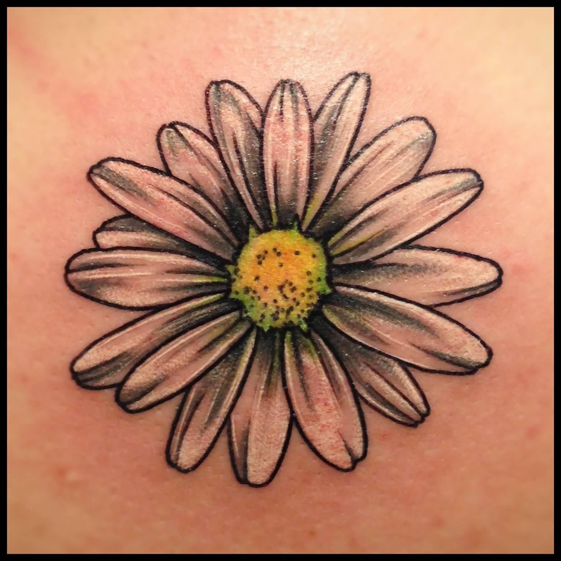 79045d77f64bd Black And Grey Daisy Flower Tattoo
