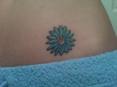 Blue Flower Daisy Tattoo On Hip