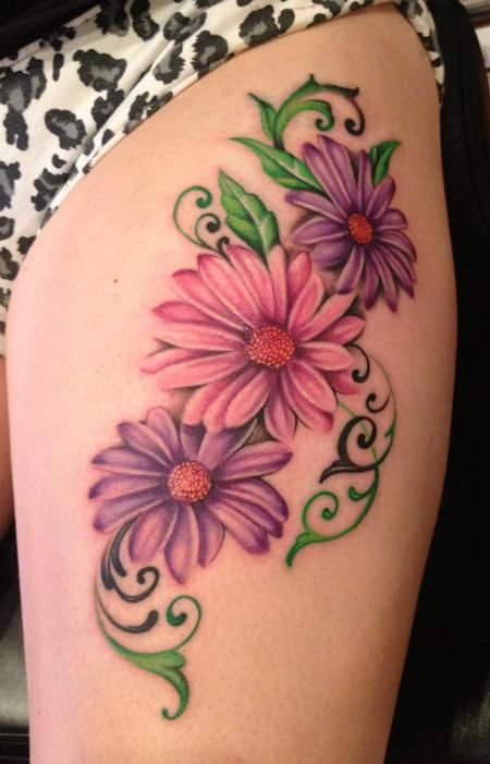 Color Daisy Flowers Tattoos On Left Thigh
