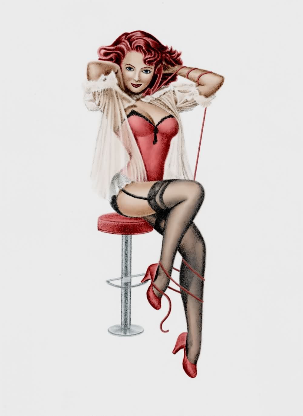 Color Ink Pin Up Girl Tattoo Design