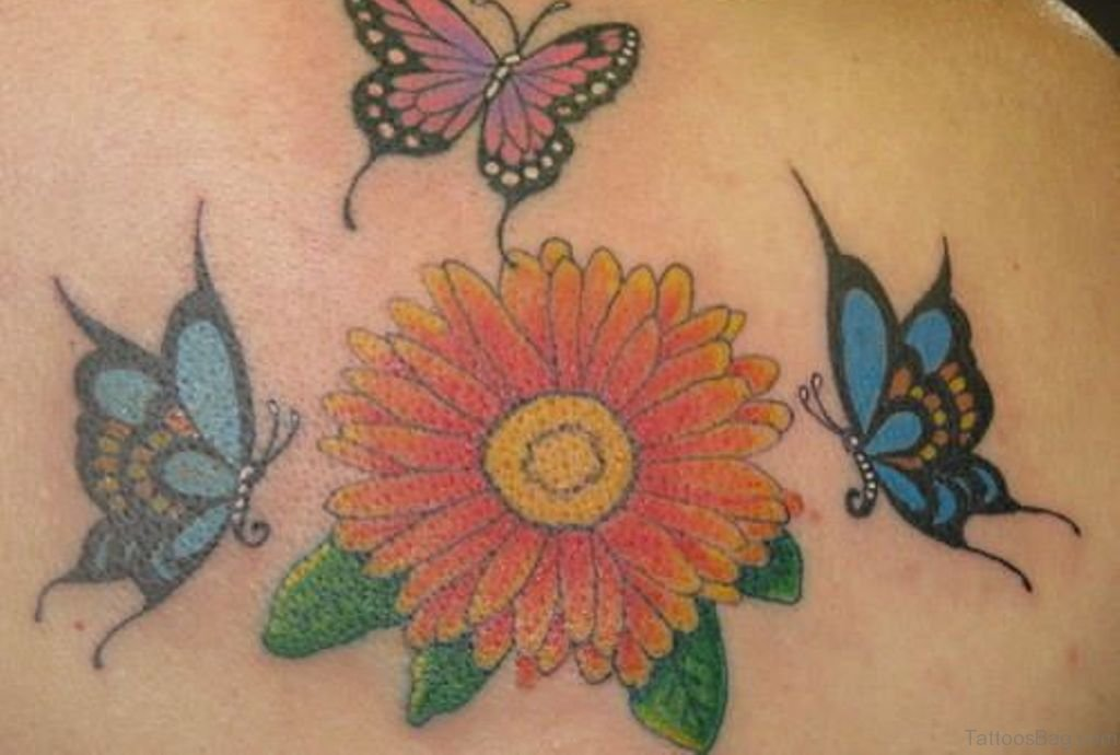 b11fd1f8112c2 Colored Butterflies And Daisy Flower Tattoo