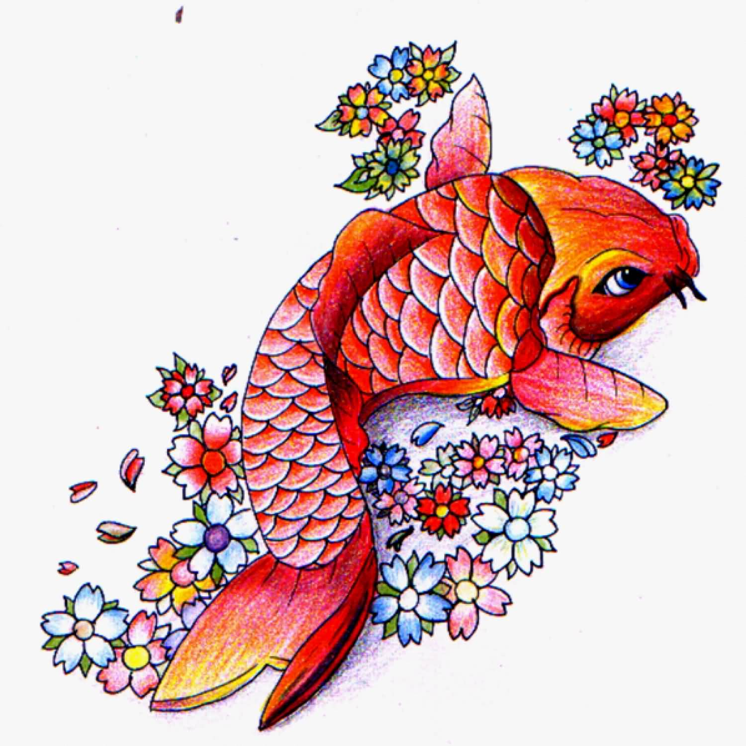 Flowers and Koi Fish Tattoo Design