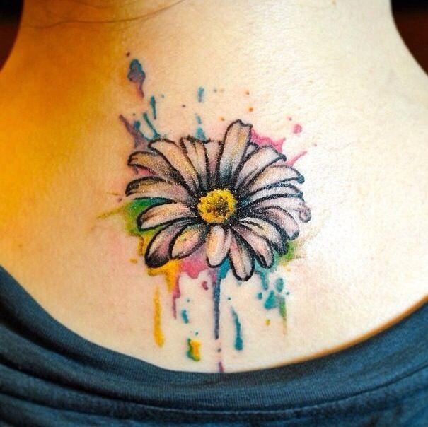 Cute Watercolor Daisy Tattoo On Girl Nape