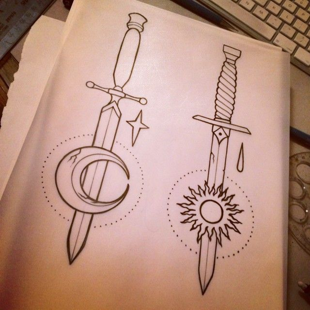Daggers With Moon And Sun Tattoo Design