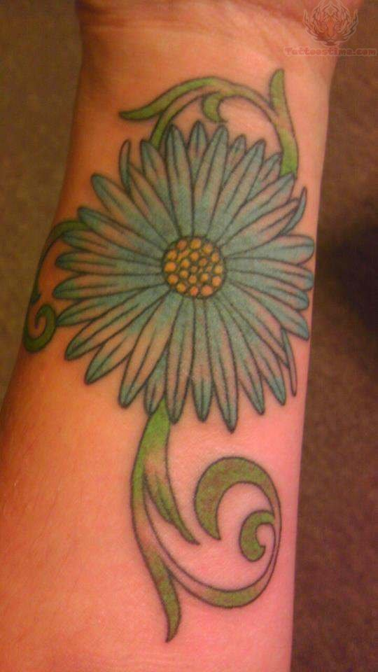 Daisy Flower Tattoo On Left Forearm