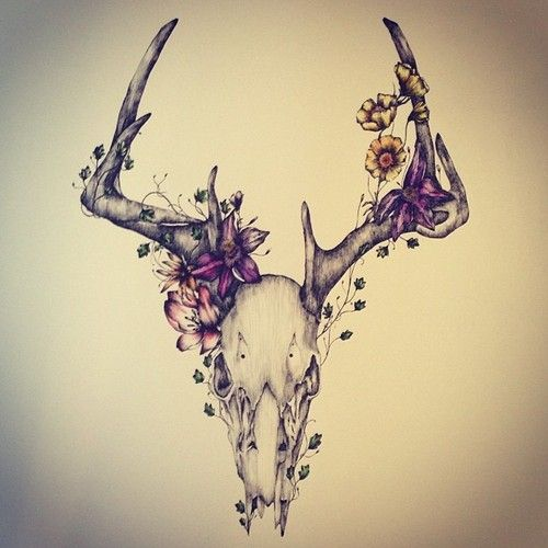 Floral Antler Tattoo: Deer Tattoo Images & Designs