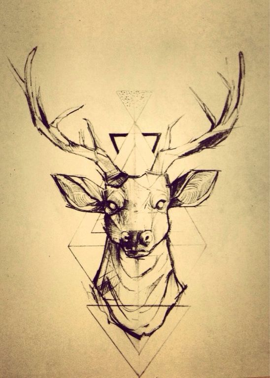 geometric deer head tattoo design sample rh tattoostime com deer head tattoo pics Deer Antler Tattoos for Men