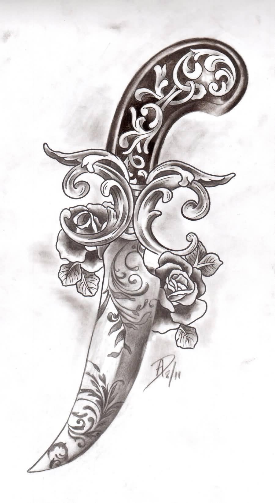 Dagger Tattoo Images & Designs | 900 x 1644 jpeg 101kB