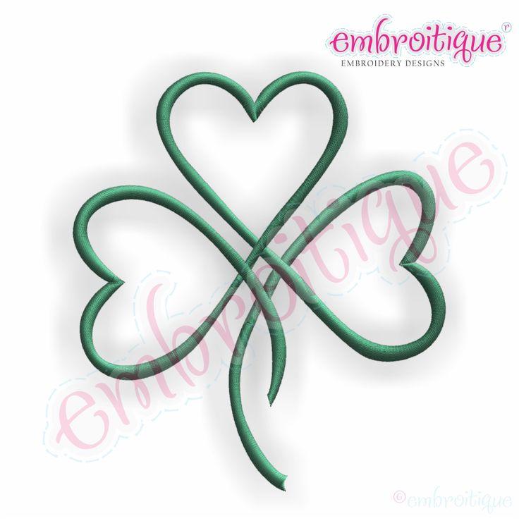 embroitique shamrock heart irish st patricks day embroidery design