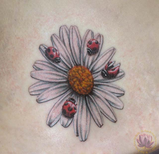 Ladybugs And Daisy Flower Tattoo Idea