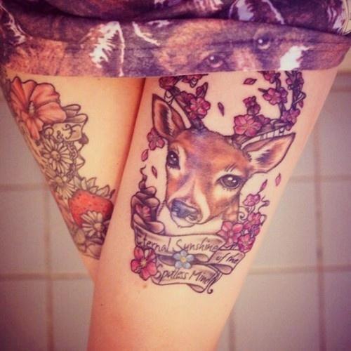 Left Thigh Deer Tattoo For Girls