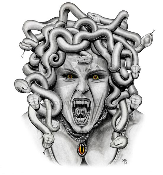Outline Medusa Girl Head Tattoo Design