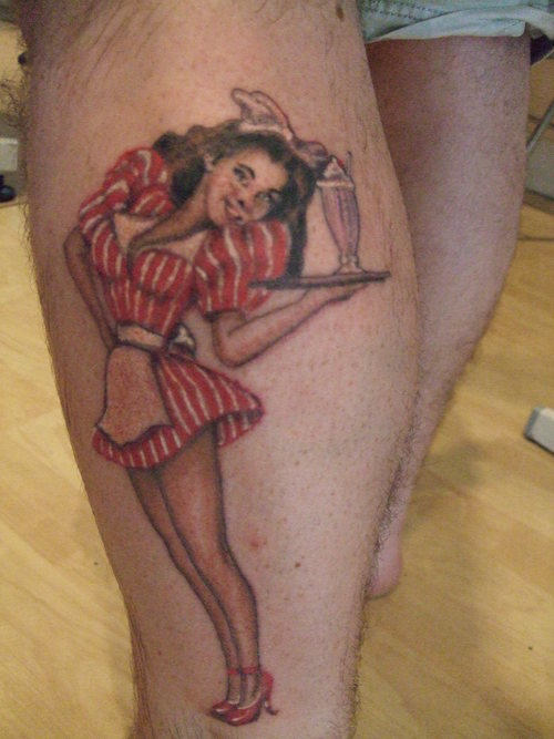 Pinup Girl Tattoo On Side Leg