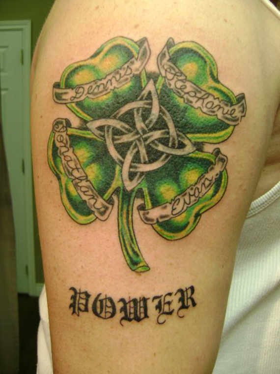 Power Clover Leaf Tattoo On Right Shoulder