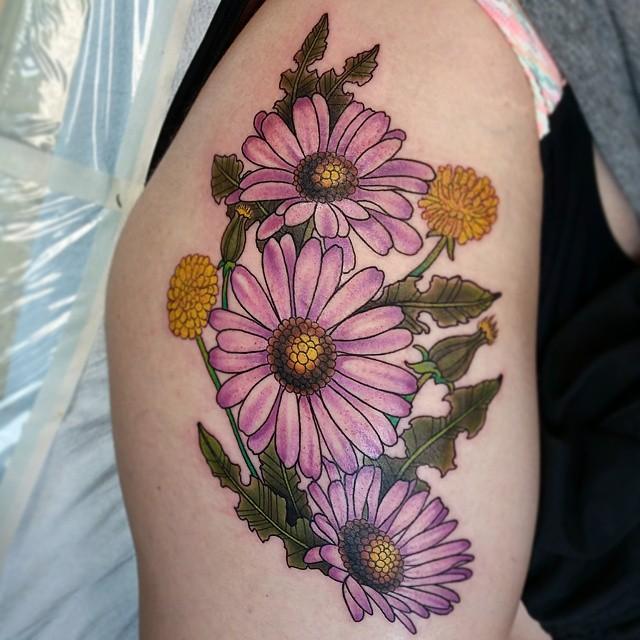 Purple daisy tattoos on right half sleeve for Daisy of love tattoo sleeve