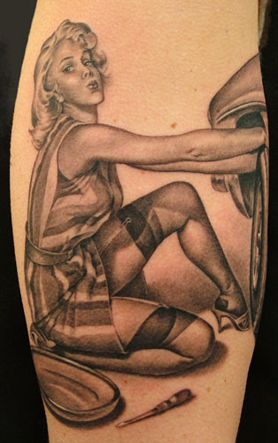 Realistic Grey Ink Pinup Girl Tattoo On Leg