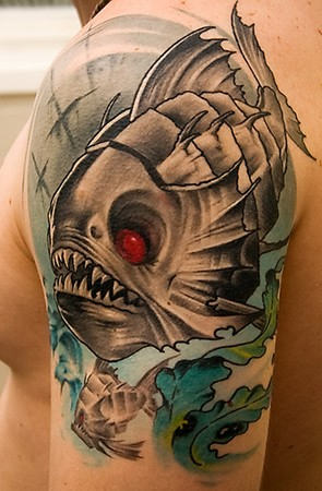 Red Eye Fish Tattoo On Left Shoulder