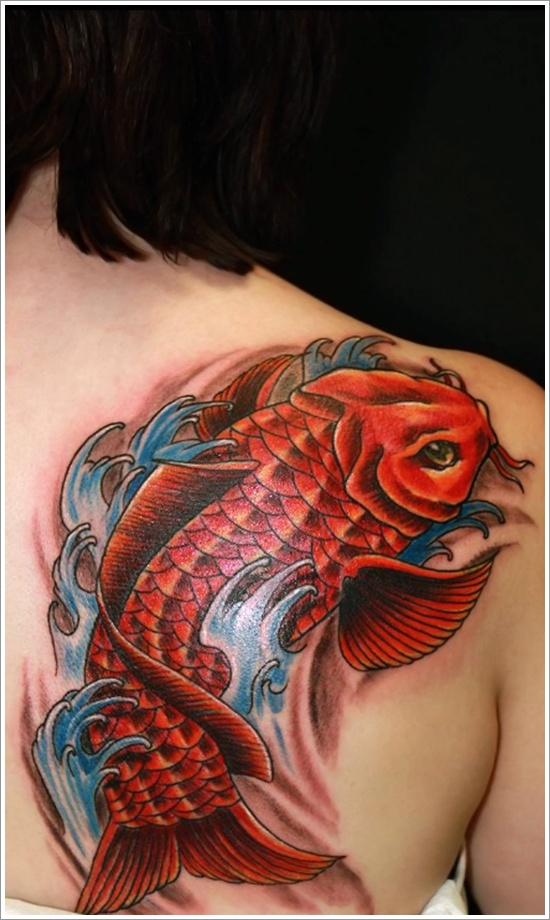 Red Fish Tattoo On Right Back Shoulder