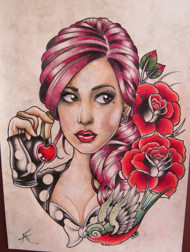 Red Roses And Pinup Girl Tattoo Design