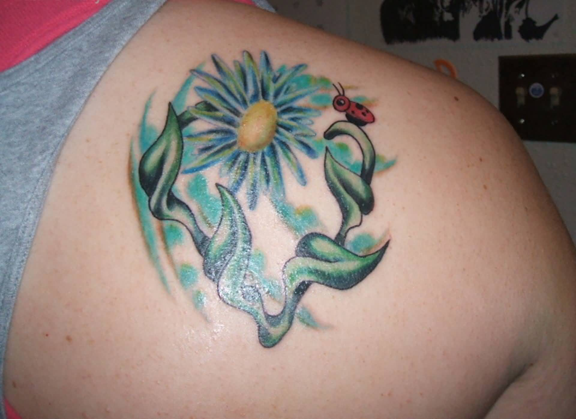 Right Back Shoulder Daisy Tattoo