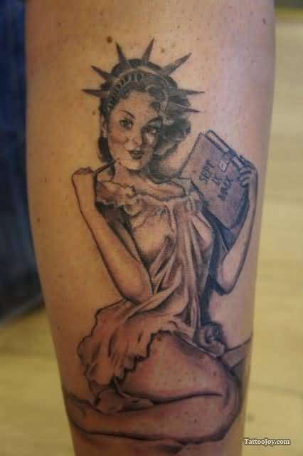Statue Of Liberty Pinup Girl Tattoo
