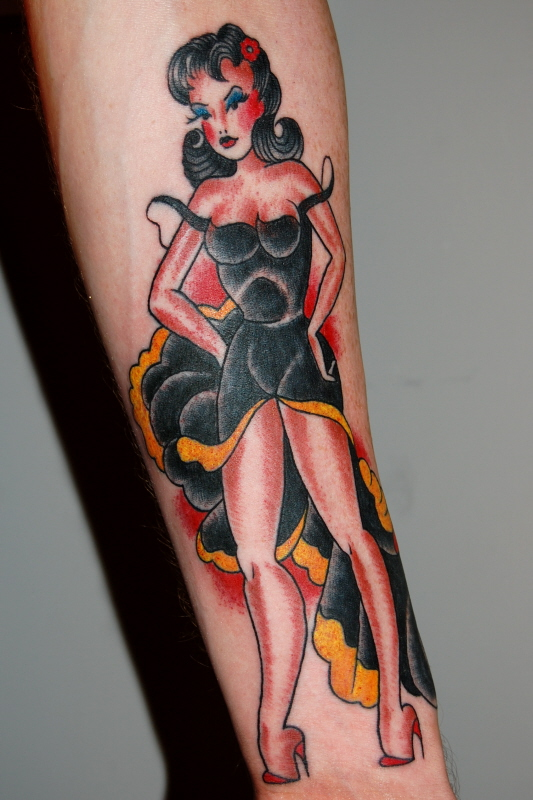 Traditional Pinup Girl Tattoo On Forearm