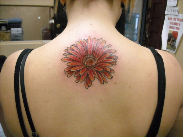 Upper Back Daisy Flower Tattoo For Girls