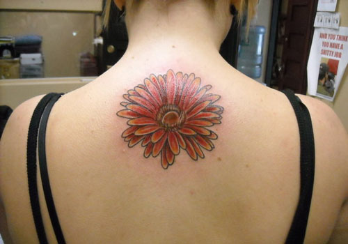 Upper Back Daisy Tattoo For Girls