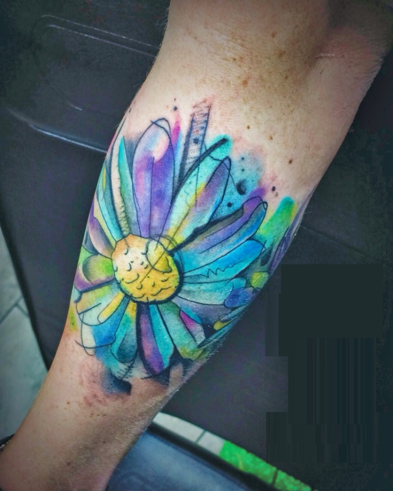 Watercolor Daisy Flower Tattoo On Arm Sleeve