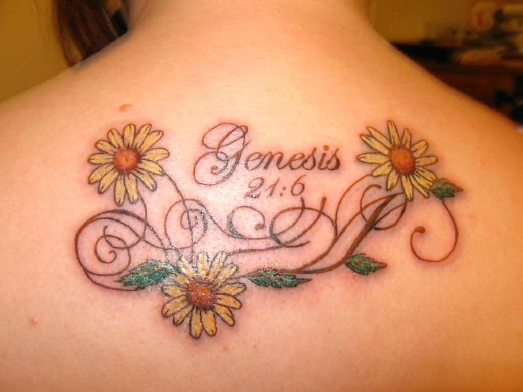 Yellow Flowers And Daisy Tattoo On Upper Back
