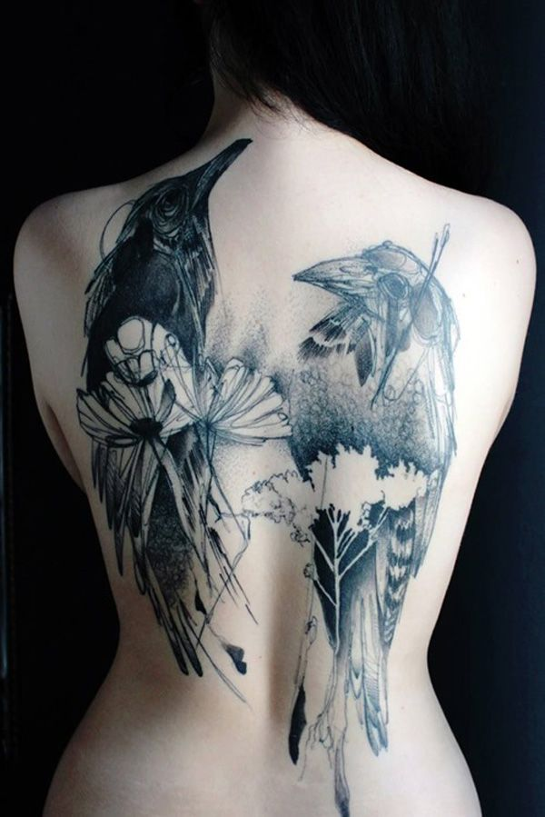 abstract crow tattoo on girl full back. Black Bedroom Furniture Sets. Home Design Ideas